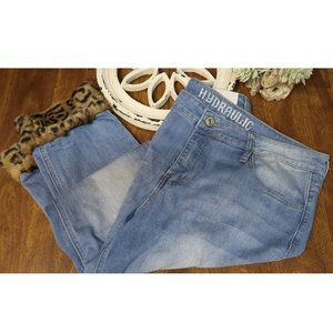 Hydraulic Jeans With Faux Cheetah Fur Cuffs